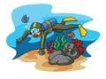 Scuba dive illustrator design eps Stock Image