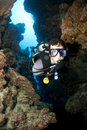 Scuba diver in cave Stock Photos