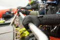 Scuba diver detail divers in the boat equipment shallow dof Royalty Free Stock Images