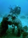 Scuba diver exploring zero wreckage philippines Stock Image