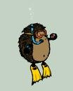 Scuba diver hedgehog Royalty Free Stock Photo