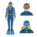 Scuba Diver and Snorkeler Royalty Free Stock Photo