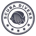 Scuba divers stamp illustration Royalty Free Stock Image