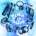 Scuba Diving Equipment Sketch Set. Royalty Free Stock Photo