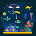 Scuba diving with fishes and coral reef vector illustration Royalty Free Stock Photo