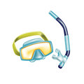 Scuba diving glasses with snorkel isolated on white Stock Photography