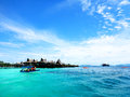 Scuba diving off mabul island sabah borneo in near the famous dive sites of sipidan and kapai beautiful spot in malaysia south Royalty Free Stock Image