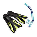 Scuba diving snorkel amd flippers isolated on white Royalty Free Stock Photos