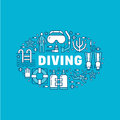 Scuba diving, snorkeling banner illustration. Water sport vector flat line icons, summer activity. Spearfishing