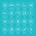 Scuba diving, snorkeling line icons. Spearfishing equipment - mask tube, flippers, swim suit, diver. Water sport, summer Royalty Free Stock Photo