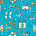 Scuba diving, snorkeling seamless pattern, water sport vector blue background. Summer activity cute repeated wallpaper Royalty Free Stock Photo