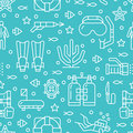 Scuba diving, snorkeling seamless pattern, water sport vector blue background. Summer activity cute repeated wallpaper
