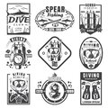 Scuba diving and spearfishing vintage logo set, vector monochrome illustration Royalty Free Stock Photo