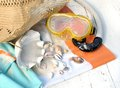 Scuba mask and seashells Royalty Free Stock Photo