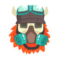 Scull In Helmet With Gas Mask, Colorful Sticker With War And Biker Culture Attributes Vector Icon