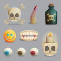 Scull and spooky body parts themed items for game design
