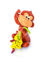 Sculpt monkey isolated it so cute Stock Images