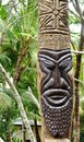Sculpted melanesian tiki totem in the ile des pins x isle of pines x new caledonia a territory french Stock Photography