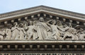 The sculpted tympanum of the `La Madeleine` church, Paris Royalty Free Stock Photo