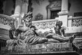 Sculpture black white in sinaia romania Royalty Free Stock Image