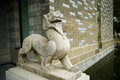 Sculpture of chinese myth the stone an animal in stands at the entrance a building chengdu china Stock Image
