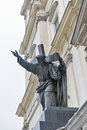 Sculpture of Christ bearing his Cross closeup. Warsaw, Poland. Royalty Free Stock Photo