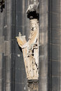 Sculpture cologne cathedral statue on the western facade of the unesco wold heritage site Royalty Free Stock Photos