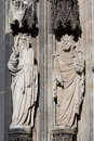 Sculpture cologne cathedral statues on the western facade of the unesco wold heritage site Royalty Free Stock Image