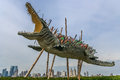 Sculpture of a crocodile with knifes Royalty Free Stock Photo