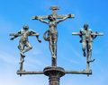 Sculpture crucifixion of jesus christ inri on the bridge to the insel mainau lake constance baden wuerttemberg germany europe Stock Photo