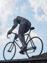 Sculpture of cyclist at Col du Tourmalet, Pyrenees, France Royalty Free Stock Photo