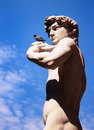 Sculpture of david by michelangelo florence italy the famous and a pigeon in Royalty Free Stock Image