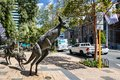 Sculpture of 3 Kangaroos fleeing from water in front of the Council House and Sterling Gardens in CBD,  Perth, Australia Royalty Free Stock Photo