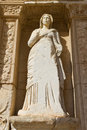 Sculpture in library of celsus ephesus turkey Royalty Free Stock Images