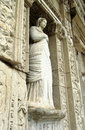 Sculpture in library of celsus in ephesus turkey Royalty Free Stock Photography