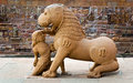 Sculpture of lion and woman in group the famous temples of khaj khajuraho this is a large medieval hindu jain Royalty Free Stock Photography