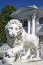 Sculpture of the lion at the yelagin palace in st petersburg russia Royalty Free Stock Photos