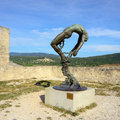 Sculpture of the marquis de sade lacoste france jul statue in front provence landscape terms sadist and sadism are derived from Royalty Free Stock Photo