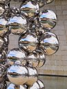 Sculpture next to the guggenheim museum bilbao big tree consisting of stainless steel balls with reflections by anish kapoor in Royalty Free Stock Photos