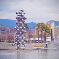 Sculpture next to the guggenheim museum bilbao big tree consisting of stainless steel balls with reflections by anish kapoor in Royalty Free Stock Images
