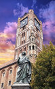 Sculpture of nicolaus copernicus in front of the town hall in to torun at sunset poland Royalty Free Stock Photography