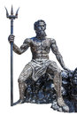 Sculpture poseidon god made from scrap metal on white backgroun background with work path Stock Photo