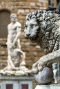Sculpture of the Renaissance in Piazza della Signoria in Florenc Royalty Free Stock Photo