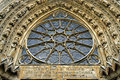 Sculpture and rose window of cathedral notre dame france department marne region champagne ardennes district reims the most famous Royalty Free Stock Images