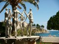 Sculpture of the Sardane dancers in Banyuls on the sea in the oriental pyrenees in south of France