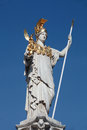 Sculpture of women with spear in the vienna gold elements and Royalty Free Stock Photography