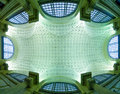 Sculptured ceiling and windows a with posts a large expanse of Royalty Free Stock Photo
