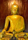 Sculptures beauty of lanna golden buddha image wooden made wood which is unique to mai art yellow gold is decorated with Stock Photos