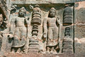 Sculptures on the  Buddhist temples at Ajanta Royalty Free Stock Photography