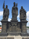 Sculptures on charles bridge prague old scupltures in Stock Photo